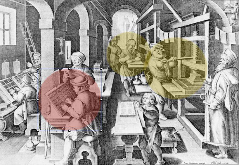 The interior of an early modern print shop, depicting a compositor setting type. To the right of the compositor, a man is applying ink to the forme. To the right of this man, another man is working the press.