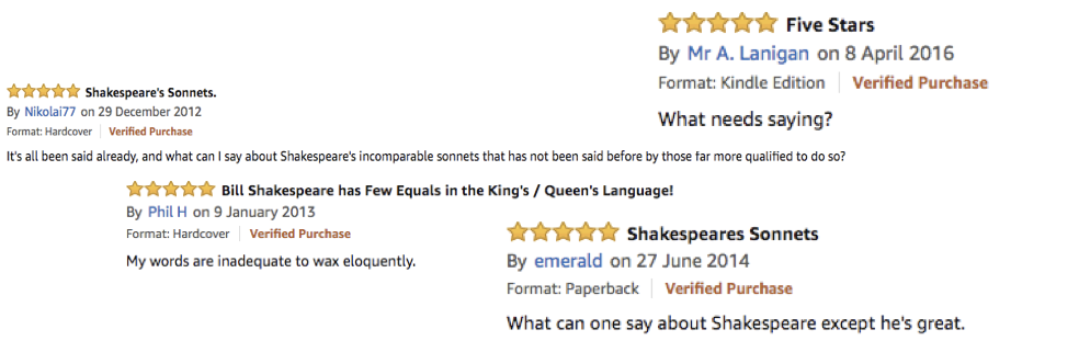 Four Amazon reviews which read as following:  Mr A Lanigan: 'What needs saying?'  Nikolai77: 'It's all been said already, and what can I say about Shakespeare's incomparable sonnets that has not been said before by those far more qualified to do so?'  Phil H: 'My words are inadequate to wax eloquently.'  emerald: 'What can one say about Shakespeare except he's great.'